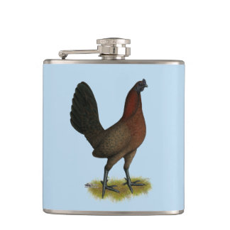 American Game Black Red Hen Hip Flask