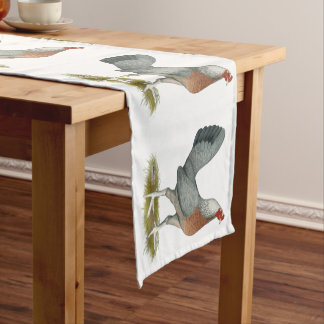 American Game Hen Silver Blue Short Table Runner