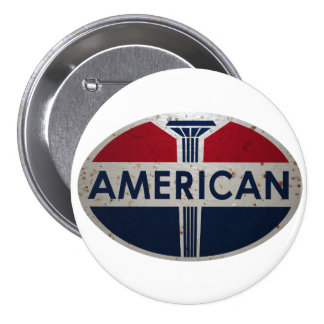American Gas Station viontage sign rusted version 3 Inch Round Button