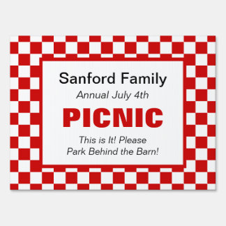 American Gingham Family Event, Picnic, Farm Market Sign
