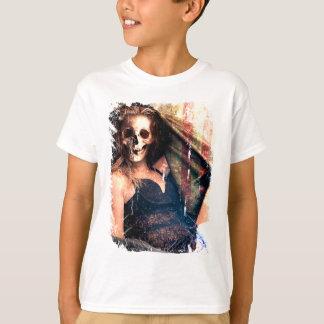 American Girl Skull Skeleton Creepy T-Shirt