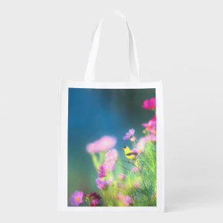 American Goldfinch and Pink Coreopsis Reusable Grocery Bag