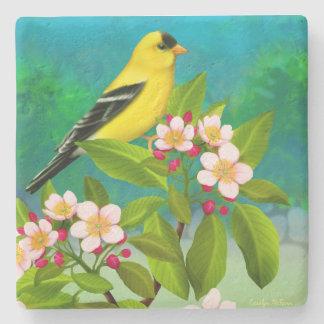 American Goldfinch Bird in Apple Blossoms  Coaster Stone Beverage Coaster
