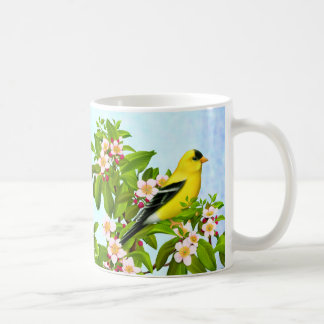 American Goldfinch Bird in Apple Tree Mug