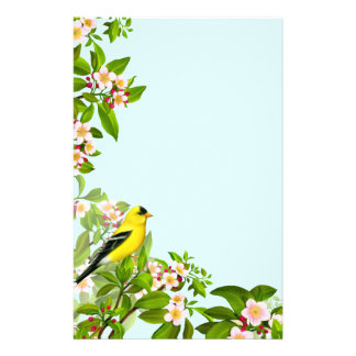 American Goldfinch Bird in Apple Tree Stationery