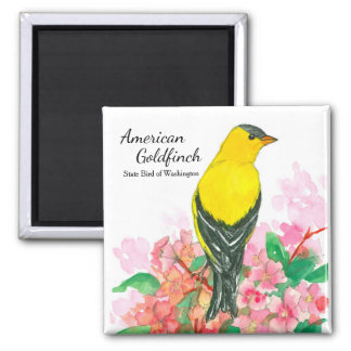 American Goldfinch Bird Pink Rhododendron Magnet