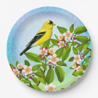American Goldfinch in Apple Blossoms Paper Plates