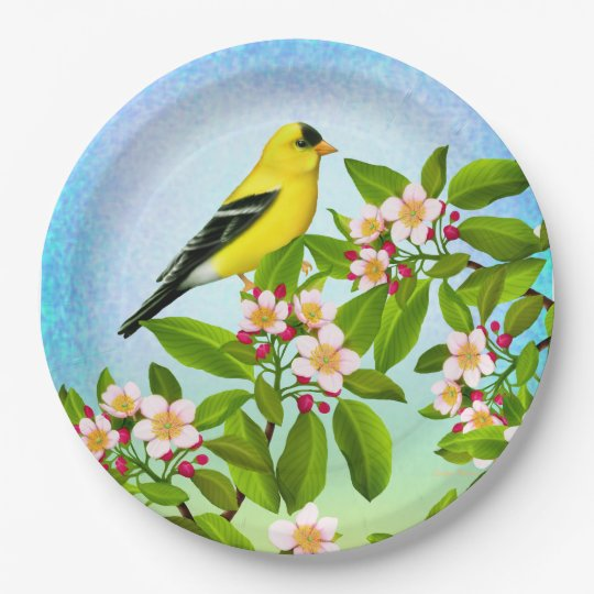 American Goldfinch in Apple Blossoms Paper Plates 9 Inch Paper Plate