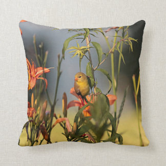 American goldfinch in the garden throw pillow