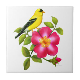 American Goldfinch on Wild Rose Ceramic Tile