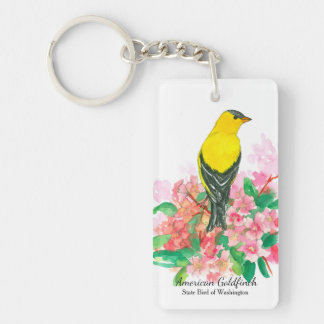 American Goldfinch Pink Rhododendron Keychain