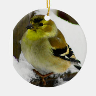 American Goldfinch Round Ceramic Ornament