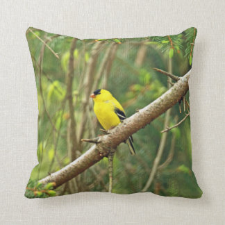 American Goldfinch Songbird - Spinus tristis Throw Pillow