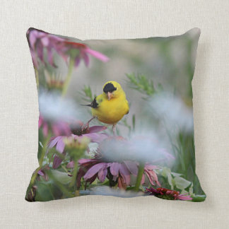 American goldfinch walking in the clouds throw pillow