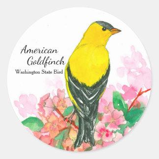 American Goldfinch Washington State Bird Yellow Classic Round Sticker