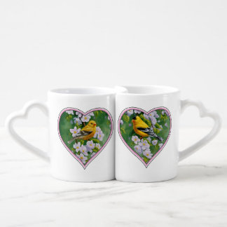 American Goldfinches and Pink Apple Blossoms Coffee Mug Set