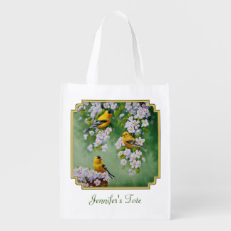 American Goldfinches & Pink Apple Blossoms Grocery Bags