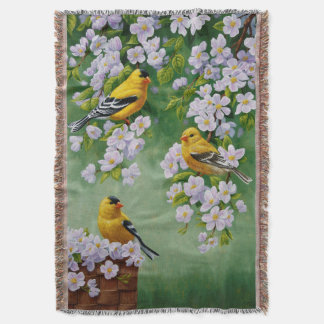American Goldfinches & Pink Apple Blossoms Throw Blanket