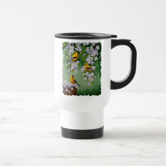 American Goldfinches & Pink Apple Blossoms Travel Mug