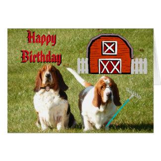 """American Gothic"" Birthday Card w/Funny Bassets"