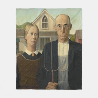 American Gothic by Grant Wood Fleece Blanket