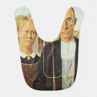 American Gothic by Grant Wood,reproduction art,vin Bib