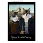 American Gothic funny Cat anniversary Greeting Cards