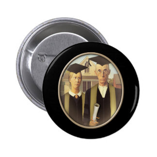 American Gothic Graduation Cameo on Black 2 Inch Round Button