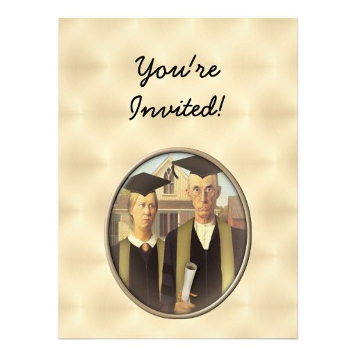 American Gothic Graduation Cameo on Gold Sheen Invitation