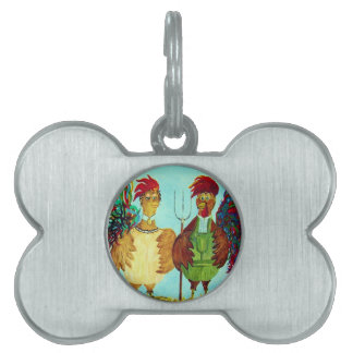 American Gothic Roosters Down on the Farm Pet ID Tag