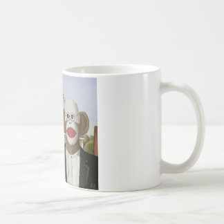 American Gothic Sock Monkeys Basic White Mug