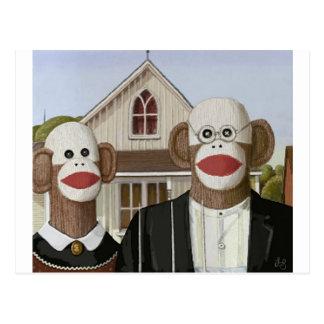 American Gothic Sock Monkeys Post Card