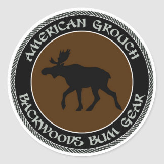 American Grouch Backwoods Bum Gear Classic Round Sticker