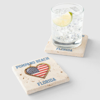 American Heart Customized With Your City And State Stone Coaster