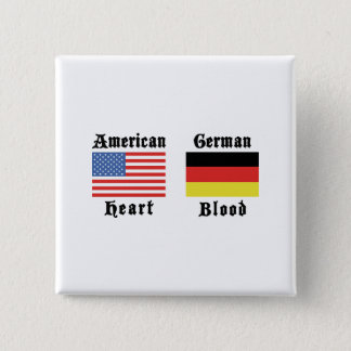 American Heart German Blood 2 Inch Square Button