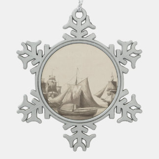 American History - Sailing from Halifax Pewter Snowflake Ornament