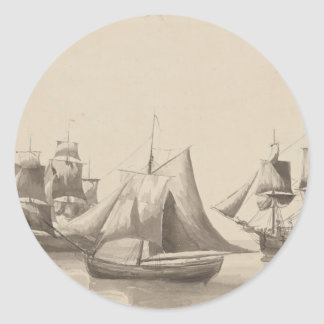 American History - Sailing from Halifax Round Sticker