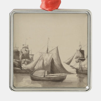 American History - Sailing from Halifax Silver-Colored Square Ornament