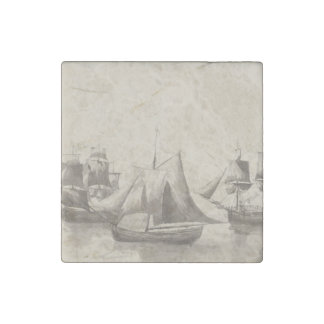 American History - Sailing from Halifax Stone Magnets