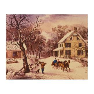 American Homestead Winter Wooden Wall Art