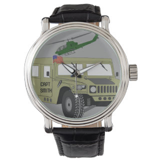 American Humvee Flag Heli Freedom Peace Destiny Wristwatch