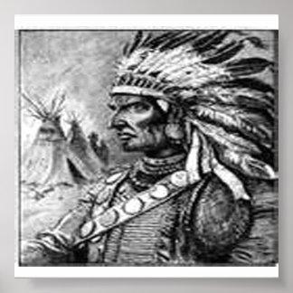 American Indian Black & White Framed Print