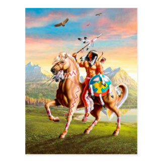 American Indian Brave on Horse Postcard