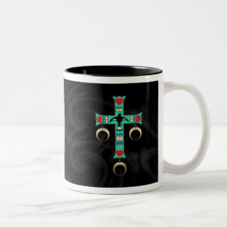 American Indian Cross with Two Feathers Two-Tone Coffee Mug