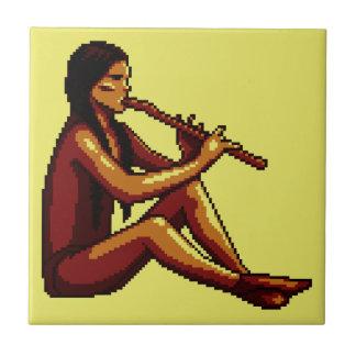 American Indian Flute Player Pixel Tiles