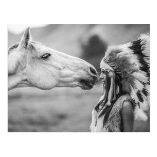 American Indian Maiden and Horse Bonding Postcard