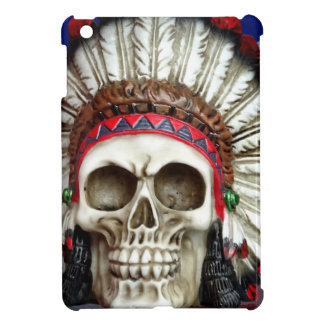 American Indian Skull With Feathers Case For The iPad Mini