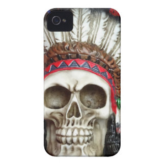 American Indian Skull With Feathers Case-Mate iPhone 4 Cases
