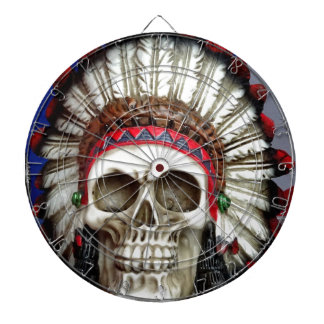 American Indian Skull With Feathers Dartboard