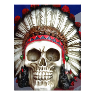 American Indian Skull With Feathers Letterhead